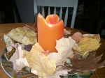 fall leaves with candle