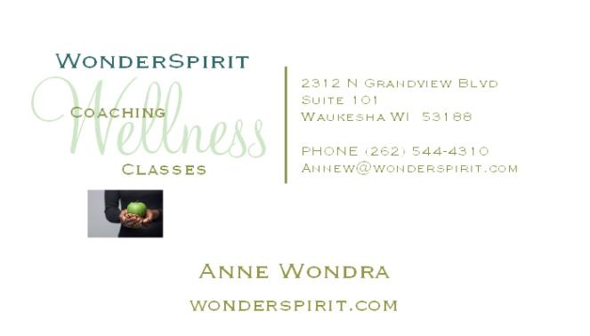 WonderSpirit Wellness Coaching and Classes, Anne Wondra WonderSpirit.com